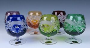 Set of 6 Bohemian Multi-Color Cut Crystal Brandy Snifter Glasses Nachtmann Glass