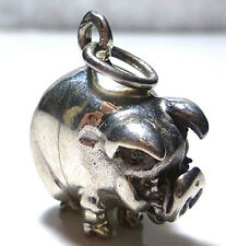 HEAVY CHUNKY FAT STERLING SILVER PIG SWINE 3D FARM ANIMAL CHARM PENDANT 1 1/8""