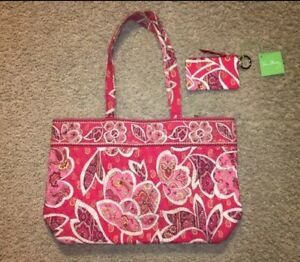 Vera Bradley Rosy Posies Quilted Tote Bag & Matching ZIp ID Case