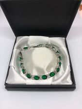 Green Emerald  Clear Topaz  925 Silver Tennis Gemstone Bracelet FREE Gift Box