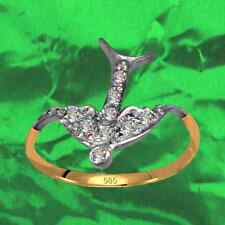 Antique Style Exclusive Swallow Ring Real 585 Yellow Gold White Gold + Diamonds