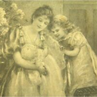 Antique printed postcard portrait of a young mother & her two children cute