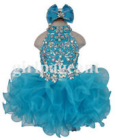 Infant/toddler/baby/girl stone beaded blue Pageant Dress G284 with hairbow