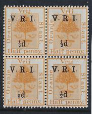 ORANGE FREE STATE :1900 1/2d on 1/2d orange 'smaller 1/2d' SG 112f mint block