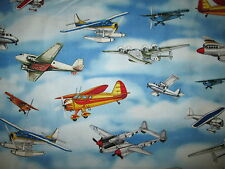 VINTAGE PLANE AIRPLANES FIGHTER PLANES SKY BLUE COTTON FABRIC FQ