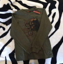 Boys Size 12 Bmx Dirt Bike Rider Long Sleeve Top Tshirt New Khaki