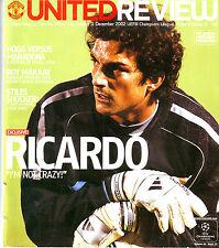 MANCHESTER UNITED v DEPORTIVO LA CORUNA 11 DEC 2002 CHAMPIONS LEAGUE VGC