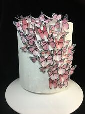 Butterfly Cake Topper 50pc DIY Monarch Pink Rose Christening Birthday Edible