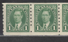 """1937 #238 1¢ KING GEORGE VI """"MUFTI"""" COILS ISSUE PAIR F-VFNH"""