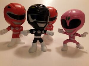 2018 Lot of 4, Red, Pink & Black  Power Rangers Burger Meal King Action Figures
