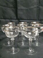 8 Vintage Champagne Coupes Platnium /Silver Rim BEAUTIFUL MC