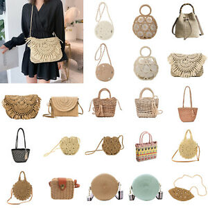 Straw Woven Shoulder Messenger Bags Women Weave Beach Travel Bucket Handbag LOT