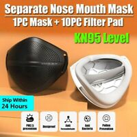 Separate Nose Mouth Mask & 10*Carbon Filters Purify Respirator Washable Reusable