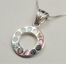 STERLING SILVER NAUTICAL RAINBOW CIRCLE OF LOVE MOTHER OF PEARL PENDANT NECKLACE