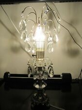 Vintage Art Deco Cut Glass Crystal Accent Table Lamps Waterfall Hanging Prisms