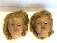 "Creepy Doll Head Vtg TWIN SISTERS Scary Sleepy Eyes 6"" Halloween Haunted Spooky"