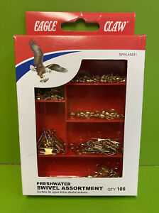 EAGLE CLAW FRESHWATER FISHING SWIVEL ASST 106pc SET #SWVLASST1 Terminal Tackle