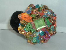 VINTAGE CHUNKY METAL MULTI-COLOR BEAD PONYTAIL HOLDER HAIR UP DO ACCESSORY