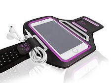 "Universal Smartphone 5.5"" Purple Lycra Armband Sports Reflective Headphone Tie"