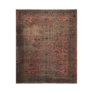 """9'3"""" x 11'2"""" Hand Knotted 100% Wool Antique Lilyhan Oriental Area Rug Rose"""