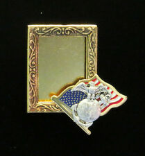 U. S. Marine Photo Pin Brooch Flag Gold & Silver Plate