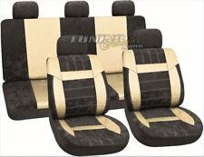 Leder Kunstleder Sitzbezug Sitz Bezug Velour Mix Beige SET für viele Fahrzeuge