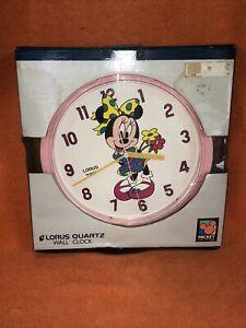 "Vintage NEW Disney Minnie Mouse Lorus Quartz Wall Clock 10"" Japan/china"