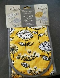 Cooksmart Retro Meadow Collection Double oven glove, Ochre Mustard Yellow Floral