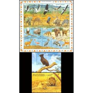 FAUNA-1989-UGANDA-WILDLIFE AT WATERHOLE-M/S+2 SOUVENIR SHEET-MNH-
