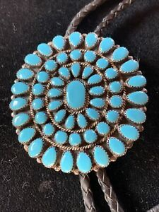 NAVAJO Sterling BOLO Tie TURQUOISE Cluster in Micro Serrated Bezel Signed LH