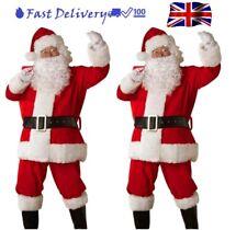 Santa Outfit Claus Costume Father Christmas Flannel Suit Adult Fancy Dress