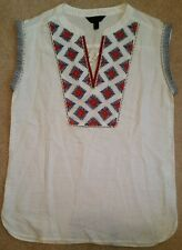 J. Crew Cap-sleeve top in embroidered sunburst C5800 $110 Size 0 XS White Red