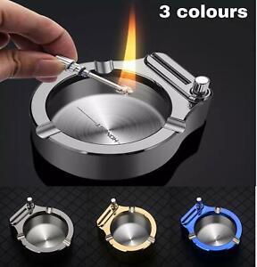 Retro Metal Ashtray Ten Thousand Match Lighter Multifunction Ashtray Blue/Gold