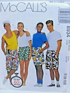Unisex Adult Shorts Uncut McCalls 8934 Sewing Pattern Casual Comfort Size 42 44