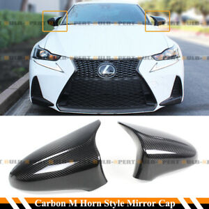 FOR 14-2020 LEXUS IS200 300 350 M HORN STYLE CARBON FIBER SIDE MIRROR COVER CAP