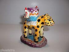 Vintage Mexican Folk Art Pottery CANDLEABRA Candle Holder LEOPARD Martinez