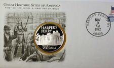 1972 Harper's Ferry WV Great Historic Sites Medal Proof Silver First Day Cover