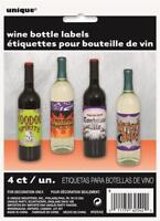 PACK OF 4 HALLOWEEN WINE BOTTLE LABELS HORROR PARTY DECORATIONS WITCHS BREW