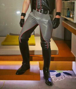 Men's Real Cowhide leather Trousers  Black and Grey Colours Breeches Gay Style