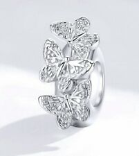 Sterling Silver 925 Pandora Or European-Fit Butterfly Stopper Charm Bead UK