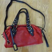 LUCKY BRAND  Red & Brown Leather Shoulder Crossbody Handbag Bag Purse