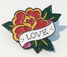 Flower Enamel Lapel Pin Tattoo Rose Love Art