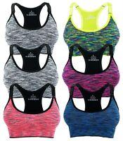 Womens Sports Bras Seamless Racerback Yoga Adjustable Strap Removable Pad