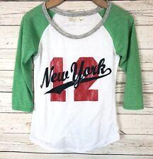 Derek Heart Small New York Raglan Baseball Distressed T Shirt Top y6