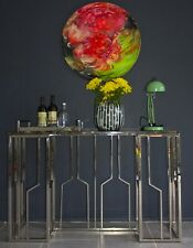 Veda Stainless Steel Console With  Marble Top (Display item, pick up only)