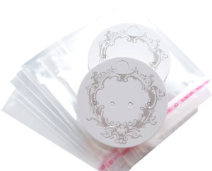 Jewellery Display Cards White Earring & Self Adhesive Bags ~ Vintage Style 5cm