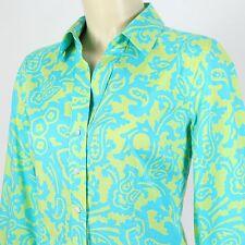 Talbots Petite STRETCH Womens S Blue Green Paisley 3/4 Sleeve Button Down Shirt