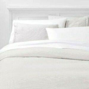 Threshold Flannel Duvet and Pillow Shams Cover Set 3pc King Size Gray Stripe NEW