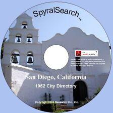 CA - San Diego 1952 City Directory CD Search - Chula Vista, Coronado etc