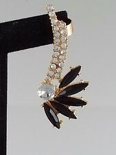 Gold Black Crystal and Acrylic FASHION Ear Cuff